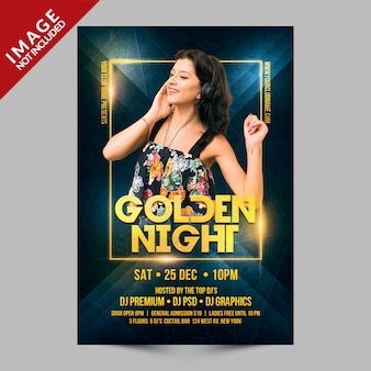 Golden night party flyer premium psd-sjabloon