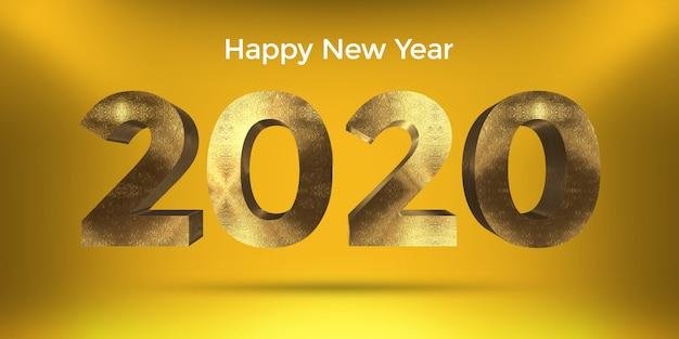 Golden style happy new year 2020 design con amarillo