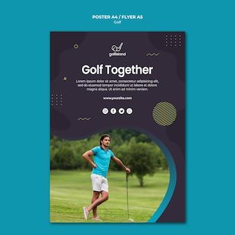Golf practicando estilo póster