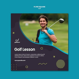Golf practicando flyer square design