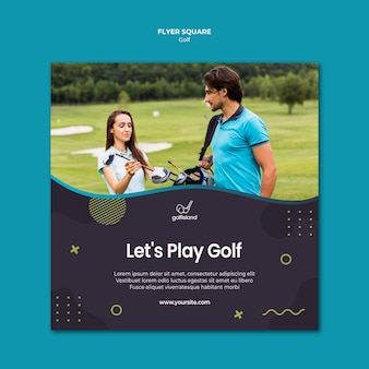 Golf practicando flyer square