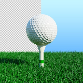 Golfbal en groen gras met een zonnige dag geïsoleerde illustratie