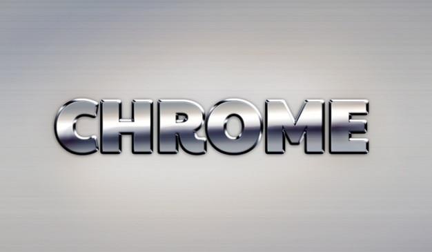 Google chrome effetto di testo in metallo
