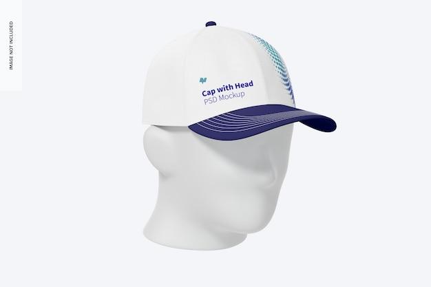 Gorra con maqueta de cabeza, 3/4 vista frontal izquierda