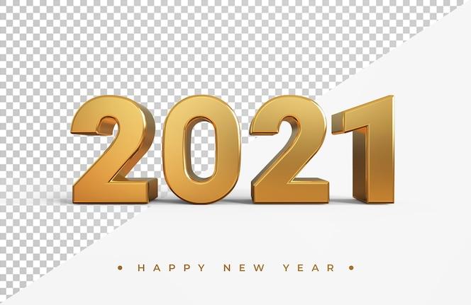 Goud 2021 nieuwjaar 3d-rendering geïsoleerd