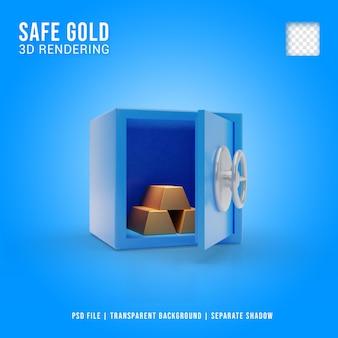 Goud in kluis 3d-pictogram, 3d-rendering