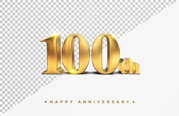 Gouden 100ste gelukkige verjaardag 3d-rendering geïsoleerd