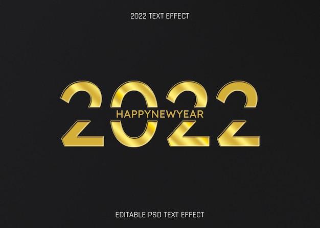 Gouden 2022 gelukkig nieuwjaar bewerkbaar teksteffect op zwarte achtergrond