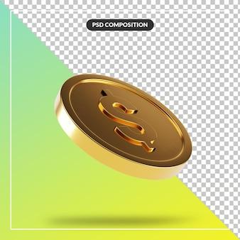 Gouden 3d muntstuk visueel voor geïsoleerde samenstelling