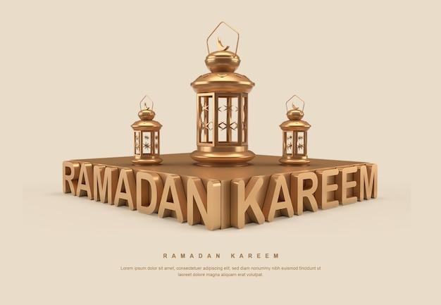 Gouden 3d ramadan-kalligrafietekst met lantaarn