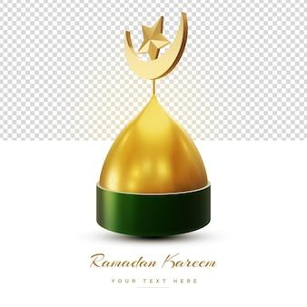 Gouden 3d ramadan kareem isolatedsquare