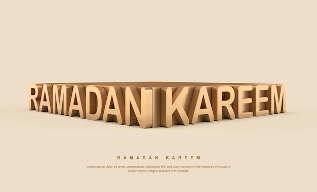 Gouden 3d ramadan kareem-kalligrafie met standaard