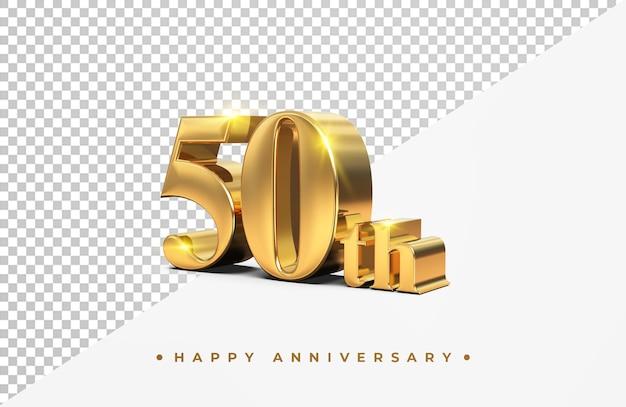 Gouden 50ste gelukkige verjaardag 3d-rendering geïsoleerd