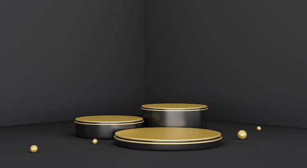 Gouden abstracte 3d render podium met zwarte achtergrond