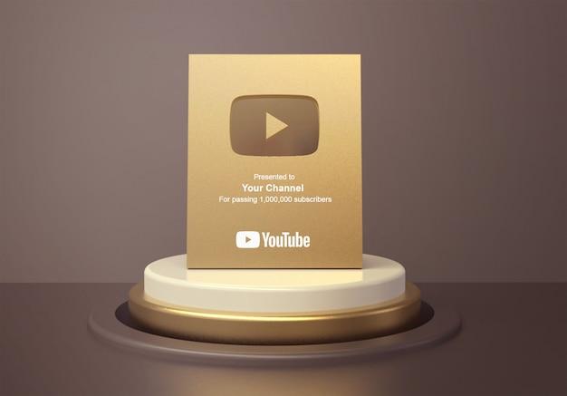 Gouden afspeelknop youtube op ronde podiumvoetstuk mockup