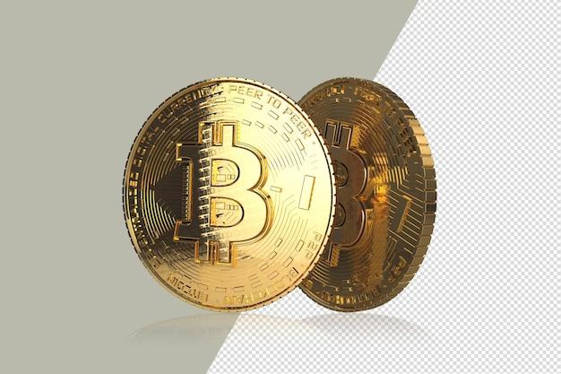 Gouden bitcoins op witte achtergrond 3d illustratie