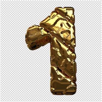 Gouden cijfers gemaakt van ruwe diagonale blokken. 3e nummer 1
