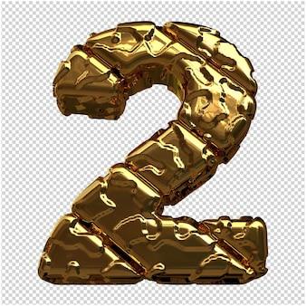 Gouden cijfers gemaakt van ruwe diagonale blokken. 3e nummer 2