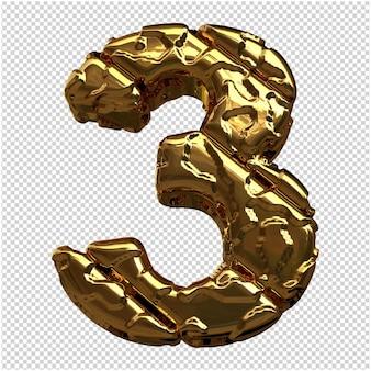 Gouden cijfers gemaakt van ruwe diagonale blokken. 3e nummer 3