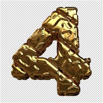 Gouden cijfers gemaakt van ruwe diagonale blokken. 3e nummer 4