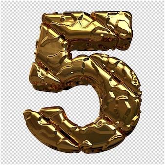 Gouden cijfers gemaakt van ruwe diagonale blokken. 3e nummer 5