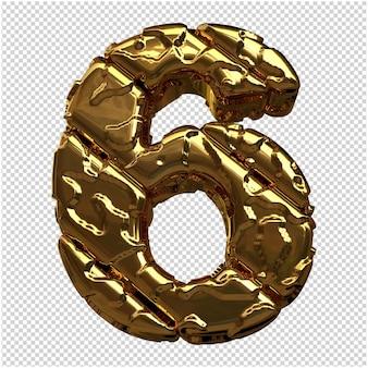 Gouden cijfers gemaakt van ruwe diagonale blokken. 3e nummer 6
