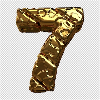 Gouden cijfers gemaakt van ruwe diagonale blokken. 3e nummer 7