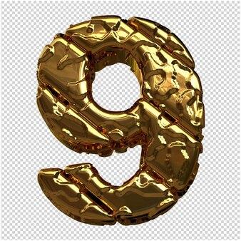 Gouden cijfers gemaakt van ruwe diagonale blokken. 3e nummer 9