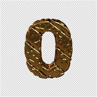 Gouden cijfers gemaakt van ruwe diagonale blokken. uitzicht van boven. 3d-nummer 0