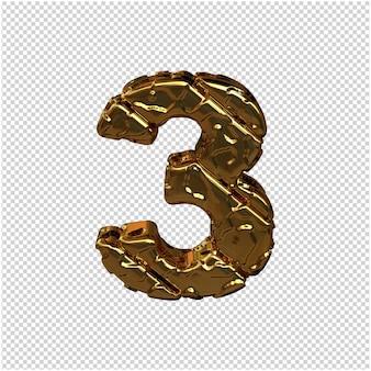 Gouden cijfers gemaakt van ruwe diagonale blokken. uitzicht van boven. 3d-nummer 3