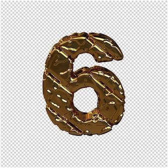 Gouden cijfers gemaakt van ruwe diagonale blokken. uitzicht van boven. 3d-nummer 6
