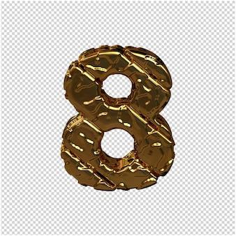 Gouden cijfers gemaakt van ruwe diagonale blokken. uitzicht van boven. 3d-nummer 8