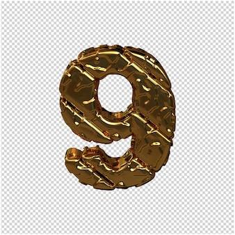 Gouden cijfers gemaakt van ruwe diagonale blokken. uitzicht van boven. 3d-nummer 9