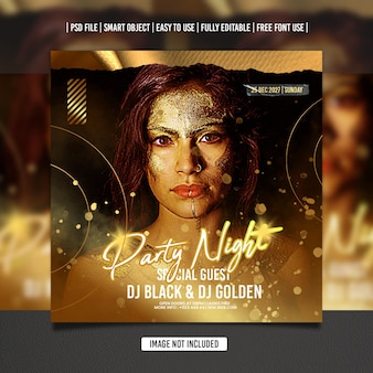 Gouden dj party flyer-sjabloon voor sociale media premium psd