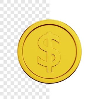 Gouden dollar munt 3d illustratie concept