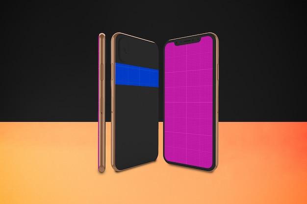 Gouden en donkere mobiele mockup