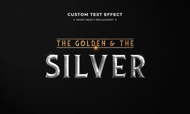 Gouden en zilveren tekststijl