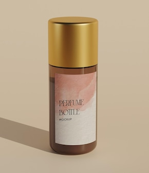 Gouden enkele parfumfles mockup