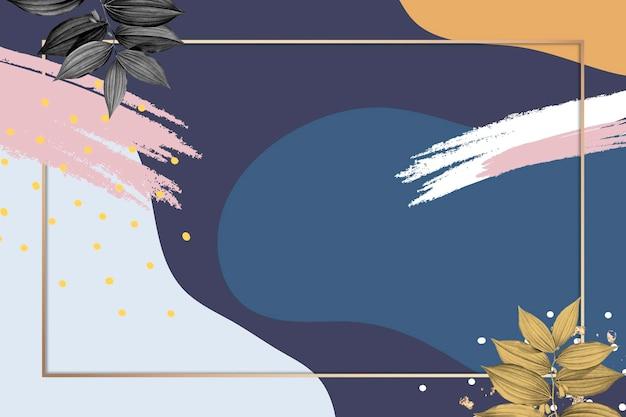 Gouden frame psd op blauwe memphis-achtergrond