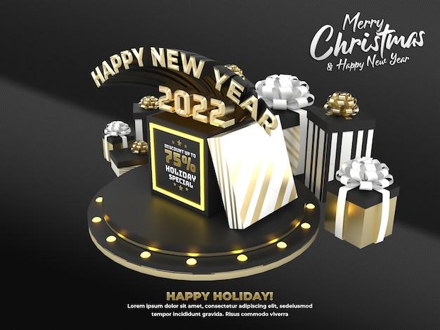Gouden gelukkig nieuwjaar 2022 en kerstvakantieviering en advertentie sociale media poster