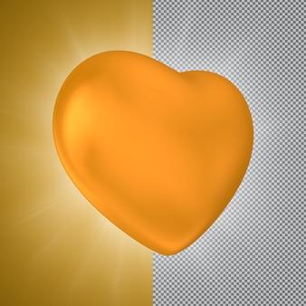Gouden hart 3d-rendering