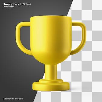 Gouden kampioen trofee award 3d-rendering pictogram bewerkbare geïsoleerd