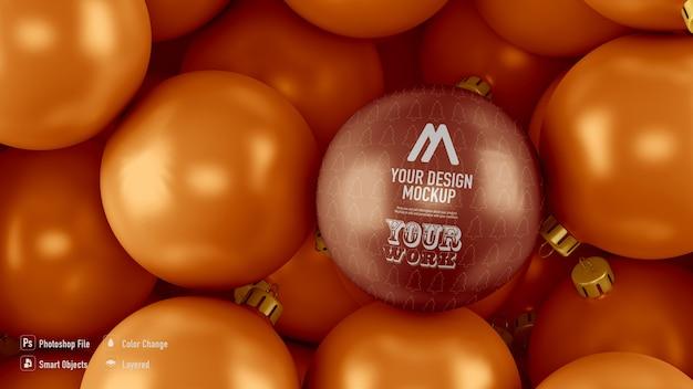 Gouden kerstballen achtergrond mockup van bovenaf Premium Psd