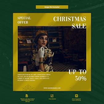 Gouden kerstuitverkoop damesmode instagram post sociale media premium-sjabloon