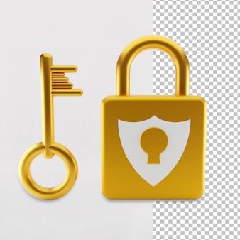 Gouden kleur hangslot beveiligingspictogram 3d-rendering geïsoleerd
