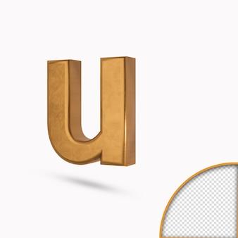 Gouden kleur kleine letter u metallic glanzend 3d-rendering