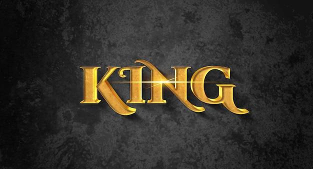 Gouden koning tekststijleffect mockupontwerp