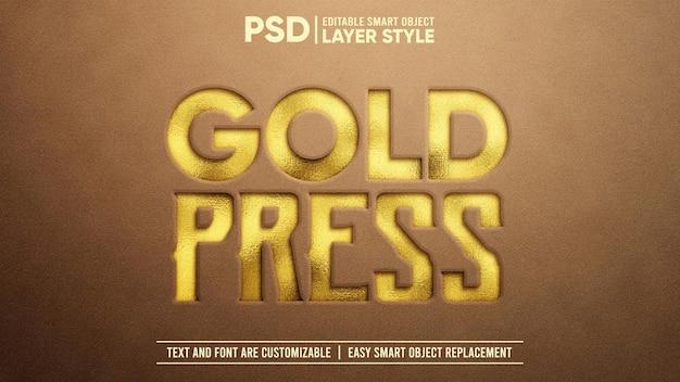 Gouden koninklijke stempel druk in reliëf op suède 3d bewerkbare laagstijl slim object teksteffect