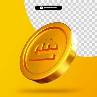 Gouden lari munt 3d-rendering geïsoleerd