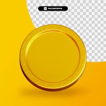 Gouden lege munt 3d-rendering geïsoleerd